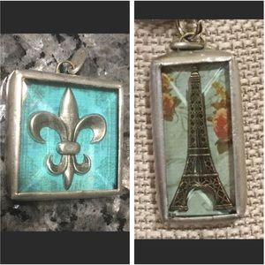2 Jewel Kade Charms - Eiffel Tower & Fleur de Lis for sale
